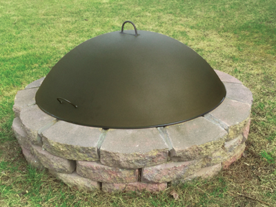 Dome Fire Pit Cover helps snuff out the fire in a shorter period of time  and keeps debris and rain out of your fire pit. - Aspen Industries Gas Logs & Fire Pits